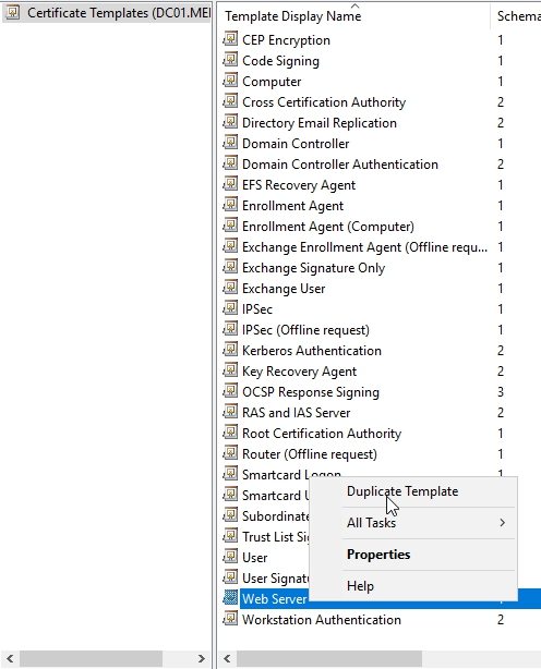 How to install remote desktop services 2016 quick start deployment with remote desktops most certificates that we need are for ssl right click on web server template and select duplicate template yelopaper Gallery
