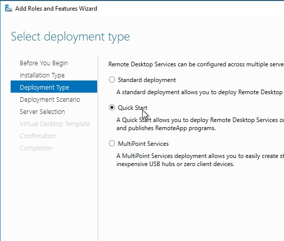 How to install remote desktop services 2016 quick start on select deployment scenario page select session based desktop deployment and click next yadclub Images
