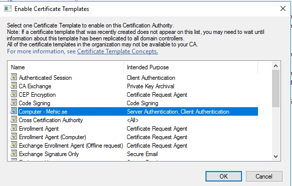 How to install and configure active directory certificate services it will appear in the list of available templates yelopaper Gallery