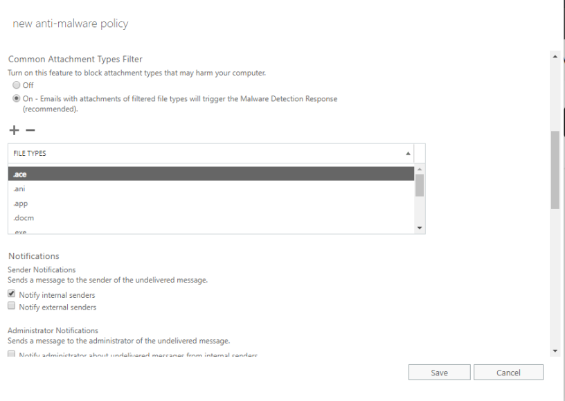 Office 365 Exchange Online Protection (EOP) – Malware
